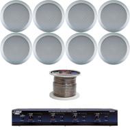 "Silver 6.5"" In-Ceiling Speakers,4 Channel Speaker Selector,100Ft of Speaker Wire"