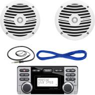 """Clarion CMD8 1.8-Inch Marine CD-USB-MP3 Receiver, Rockford Fosgate RM0652 6.5"""" Inch Marine Boat Yacht Full Range Audio Speakers, White Pair, 14 Gauge 50 Foot Marine Speaker Wire , EKMR1 Enrock Marine Wire Antenna (Black)"""