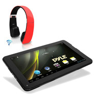 """Pyle Android 4.2 Bluetooth Wifi 3D Graphics 9"""" Tablet, Wireless Red Headphones"""