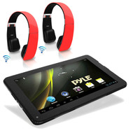 Pyle Android 4.2 Bluetoth 3D Graphics Tablet, 2 Sound6 Red Bluetooth Headphones