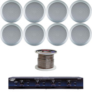 """5.25"""" Mid Bass 2In-Ceiling 2Way Silver Speakers,Wire,4 Channel Speaker Selector"""