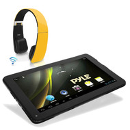 """Pyle Android 9"""" Bluetooth Android 4.2 Tablet, Sound6 Yellow Bluetooth Headphones"""