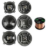 """2x Polk Audio DB522 5.25-Inch 300-Watt 2-Way Speakers, 2x DB6502 6.5"""" 300W 2 Way Car/Marine Speakers, 2x Polk Audio DB402 4-inch 135W Coaxial Speakers Black, Enrock 16-Gauge 50 Foot Speaker Wire"""