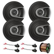 "4x Polk Audio MM Series Ultra Marine Certified 6.5"" 2 Way Coaxial Car / Boat Speakers, 4x Metra 72-4568 Speaker Wire Harness for Select GM Vehicles, Enrock Audio 16-Gauge 50 Foot Speaker Wire"