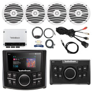 "Rockford Fosgate Bluetooth Marine MP3 Receiver, Remote Control, 4x 6.5"" Boat Full Range White Speakers, 4-Channel White 400 Watt Amplifier, AMP Install Kit, Antenna - 40"", USB AUX Interface Mount"