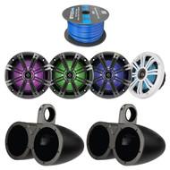 """4x Kicker 6.5 Inch KM-Series LED Marine Boat Coaxial Speakers, 4x Kicker 6.5"""" Dual Speakers Tower Black Enclosures, Enrock 50 Foot 16-Gauge Speaker Wire"""