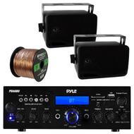 Pyle PDA6BU USB/SD-Card 200-Watt Bluetooth Stereo Amplifier Receiver, 2x Pair PLMR24 Pyle 3.5'' 200 Watt 3-Way Weather Proof Mini Box Speaker System (White), Enrock Audio 16-Gauge 50 Foot Speaker Wire