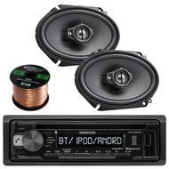 "Kenwood KDC-BT21 In-Dash 1-DIN CD/MP3 USB Bluetooth Car Stereo Receiver, 2x Kenwood KFC-C6895PS 720-Watt 6x8"" 3-Way Black Custom Fit Coaxial Speaker, Enrock Audio 16-Gauge 50 Foot Speaker Wire"