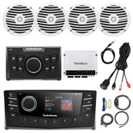 "Rockford Fosgate 2.7"" DIN AM/FM Bluetooth Stereo Receiver, 4x 6.5"" Boat Full Range White Speakers, 4-Channel White 400 Watt Amplifier, AMP Install Kit, Antenna - 40"", Universal USB AUX Interface Mount"