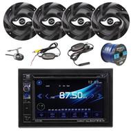 """Dual AV DV637MB Double Din 6.2"""" Touch Screen DVD Bluetooth USB Receiver, 4x 100-Watt 2-Way 6.5-Inch 2-Way Car Speaker, XCAM500 Waterproof Wireless Backup Camera, Enrock 16-Gauge AMP Kit"""