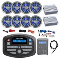 "Magnadyne AM/FM Bluetooth Car Audio Receiver, Waterproof Marine Wired Remote Control, 8x Enrock Marine 6.5"" Charcoal Speakers, 2X 4 Channel 400 Watt White Amp, Amp Install Kit, Antenna 40"""