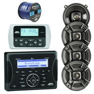 "Jensen Marine Audio MA400 Bluetooth USB iPod/iPhone/ SiriusXM-Ready Stereo Receiver, Wired Remote Control, 4X Polk Audio DB522 5.25"" 300-Watt 2-Way Speakers, Enrock 50 Foot 16-Gauge Speaker Wire"