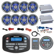 "Magnadyne AM/FM LCD Bluetooth Stereo Receiver, Waterproof Wired Remote Control, CCR150 Marine Remote Control, 8x 6.5"" Charcoal Speakers, 2x 4 Channel 400Watt White Amp, Amp Install Kit, Antenna 40"""