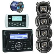 "Jensen Marine Audio MA400 Bluetooth USB iPod/iPhone/ SiriusXM-Ready Stereo Receiver, Wired Remote Control, 4X Polk Audio DB402 4"" 135W Coaxial Speakers Black, Enrock 50 Foot 16-Gauge Speaker Wire"