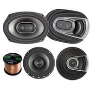 "2x Polk Audio MM MM652 Series Ultra Marine Certified 6.5"" 2 Way Coaxial Car / Boat Speakers, 2x MM692 Marine 6x9"" 3 Way Car / Boat Speakers, Enrock Audio 16-Gauge 50 Foot Speaker Wire"
