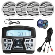 "Hifonics Marine Bluetooth AM/FM Gauge Mount Radio Receiver, 4x MB Quart 6.5"" 120W 2-Way Boat Speakers, Enrock 50 Foot 16-Gauge Speaker Wire, AM/FM Black Antenna, USB AUX Interface Mount"