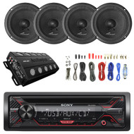 "Sony CDX-G1200U 55W CD Receiver with Enhanced Smartphone Connectivity, 2X Audiopipe Midbass 6"" 125W Rms Sealed Black Speaker, Enrock Audio 8-Gauge Install Wiring Kit"