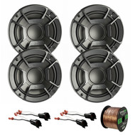 "4X Polk Audio DB6502 6.5"" 300W 2 Way Car/Marine ATV Stereo Component Speakers, 4X Metra 72-5600 Speaker Adapter for Select Ford Vehicles, Enrock Audio 16-Gauge 50 Foot Speaker Wire"