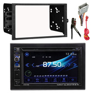"Dual AV DV637MB Double Din 6.2"" Touch Screen DVD Bluetooth USB Receiver, Metra 40-GM10 Antenna Adapter, Metra 70-2003 Radio Wiring Harness, Metra Electronics 95-2001 Double DIN Installation Dash Kit"