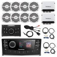 "Rockford Fosgate 2.7"" DIN AM/FM Bluetooth Stereo Receiver, Remote Control, 4x 6.5"" Boat White Speakers, 4-Channel White 400 Watt Amplifier, AMP Install Kit, Antenna - 40"", USB AUX Interface Mount"