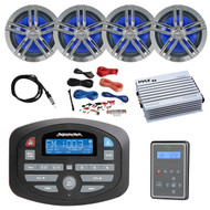 "Magnadyne AM/FM Bluetooth RV Audio Receiver, Waterproof Marine Wired Remote Control, 4x Enrock Marine 6.5"" Charcoal Speakers, 4 Channel 400 Watt White Amp, Amp Install Kit, Antenna 40"""