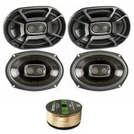 4X Polk 6x9 Inch 450W 3-Way Car/ Boat Coaxial Stereo Audio Speakers Marine DB692, Enrock Audio 14 AWG Gauge 50 Feet Speaker Wire Cable