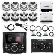 "Rockford Fosgate Bluetooth Marine MP3 Receiver, Remote Control, 8x 6.5"" Full Range White Speakers, 2X 4-Channel White 400 Watt Amplifier, 2X AMP Install Kit, Antenna - 40"", USB AUX Interface Mount"