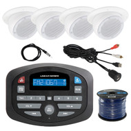 """Magnadyne SP1 AM/FM Bluetooth Compact Car Receiver, 4X LS3EYC-TN 3"""" Tan Ceiling Satellite Speaker, Enrock Antenna - 40 """", 50 Foot 16-Gauge Speaker Wire,mUSB 3.5MM Auxiliary Interface Mount"""