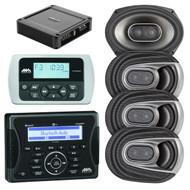 "Jensen Marine Audio MA400 Bluetooth USB iPod/iPhone Stereo Receiver, Wired Remote Control, 4X Polk Audio MM Series Marine 6x9"" 3 Way Car / Boat Speakers, Polk Audio PA330 330W 2 Channel Amplifier"