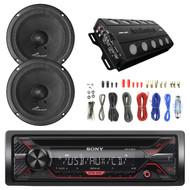 "Sony CDX-G1200U 55W CD Receiver, 2X Audiopipe Midbass 6"" 125W Rms Sealed Black Speaker, Audiopipe 1000 Max Watt 4 Channel Amplifier, Enrock Audio 8-Gauge Amp Install Wiring Kit"
