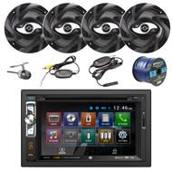 "Dual AV Double Din 6.2"" Touch Screen DVD Bluetooth USB Receiver, 4x DS652 100-Watt 2-Way 6.5-Inch DS Series 2-Way Car Speaker, XCAM500 Waterproof Wireless Backup Camera, Enrock 16-Gauge 50 Foot Wire"