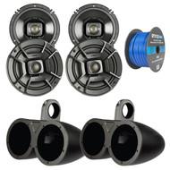 """4x Polk Audio 6.5"""" 300W 2 Way Car/Marine ATV Stereo Coaxial Speakers, 4x Kicker 6.5"""" Dual Speakers Tower Black Enclosures, Enrock 50 Foot 16-Gauge Speaker Wire"""