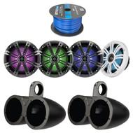 """4x Kicker 6.5 Inch KM-Series LED Marine Boat Coaxial Speakers, 4x Kicker 6.5"""" Dual Speakers Tower Black Enclosures, Enrock Audio Marine 50 Foot 16-Gauge Speaker Wire"""