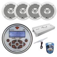 "Audiopipe Marine AM FM Head Unit Guage Style Recevier Stereo w/ Bluetooth, 4x 6.5"" 2-Way White 200 Watt Speakers, 4 Channel Amplifier 1400W, 8 Gauge Amplifer Wiring Kit, Marine Am/Fm Amp Antenna"