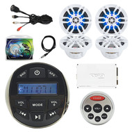 "DS18 Waterproof Marine Stereo Receiver Radio, Remote Control, 4x White Boat 6.5"" Speakers w/ RGB LED Lights, 4 Channel Amplifier, 8-Gauge Install Kit, Antenna 40"", USB AUX Interface Mount"