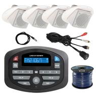 "Magnadyne SP1 AM/FM Bluetooth Compact Car Receiver, 4X LS3CMW 3"" Inch White Ceiling/Wall Satellite Speaker, Enrock Antenna - 40 "", 50 Ft 16-Gauge Speaker Wire, USB 3.5MM Aux Interface Mount"