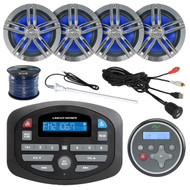 """Magnadyne Linear Series SP1 AM/FM Bluetooth Compact Car Audio Receiver, WRC150 Wired Remote, Antenna, 2X 180-Watts 6.5"""" Speaker (Charcoal), 50 Foot 16-Gauge Speaker Wire, USB 3.5MM Aux Interface Mount"""
