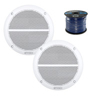 "2X Enrock Marine EM602W Dual 6.5"" Inch Weather Resistant Full Range Speakers 250 Watts Peak, Enrock Audio Marine Grade Spool of 50 Foot 16-Gauge Speaker Wire"