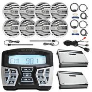 "Hifonics Marine Bluetooth AM/FM Gauge Mount Radio Receiver, 8x MB Quart 6.5"" 120W 2-Way Boat Speakers, 2x 4-Channel Nautical Amplifier, 2x AMP Install Kit, 2x Black Antenna, USB AUX Interface Mount"
