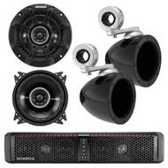 "HIFONICS TPS6 THOR 6-Speaker Bluetooth Powersports Amplified Soundbar, Kicker 40KMMTES 4"" Mini Tower Enclosure, Kicker 41DSC44 4"" Inch 2-Way Black Car Audio Stereo Coaxial Speaker"