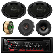 "Pioneer DEHS1000UB CD MP3 Stereo Receiver, Infinity REF-6522EX Reference Series Shallow-Mount 6-1/2"" 330 Watt Coaxial Car Speakers, Alpine SPJ-691C3 6 x 9"" Inch Coaxial 400 Watt 3-Way Speaker (pair), Enrock 14 AWG Gauge 50 Feet Speaker Wire"