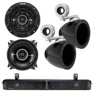 "HIFONICS TPS10 THOR 10-Speaker Bluetooth Powersports Amplified Soundbar, Kicker 40KMMTES 4"" Mini Tower Enclosure, Kicker 41DSC44 4"" Inch 2-Way Black Car Audio Stereo Coaxial Speaker"