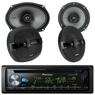 "Pioneer DEH-X6900BT Vehicle CD Digital Music Player Receivers, Pair Kicker KSC650 6.5"" (160mm) Coax Speakers w/.75""(20mm) tweeters, 4-Ohm, KSC690 6x9"" (160x230mm) Coax Spkrs w/1""(25mm) tweeters, 4-Ohm"