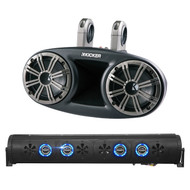"""Audio Package: Bazooka 36"""" Bluetooth Party Bar with RGB LED Illumination System, 4X Kicker 6.75"""" 300 Watts Peak 150 Watts RMS Marine Boat Wakeboard Tower Speakers with Dual Mounting Option"""