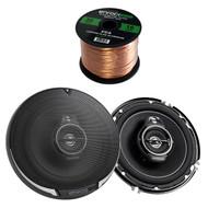 """2X Kenwood Performance Series 6-1/2"""" 3-way 320 Watt Car Speakers, Enrock Audio 16-Gauge 50 Foot Speaker Wire"""