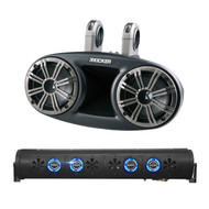 """Audio Package: Bazooka 24"""" Bluetooth Party Bar Off Road Sound Bar LED Illumination System, 4X Kicker 6.75"""" 300 Watts Peak 150 Watts RMS Marine Boat Wakeboard Tower Speakers with Dual Mounting Option"""