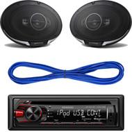 "KDC-158U - Kenwood Single DIN In-Dash CD/MP3 Stereo Receiver with USB Interface, Kenwood 6X9"" -Way Speaker 600W, 14 Gauge 50 Foot Speaker Wire"