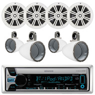 """Kenwood KMR-D768BT Marine Boat Yacht Outdoor CD MP3 USB AUX Bluetooth AM/FM Radio Receiver, Pair of Kicker 41KM604W 6.5"""" 6-1/2"""" Inch 4-Ohms Audio Speakers, Pair Of Kicker 12KMTESW White 6 1/2"""" Wakeboard Tower Enclosures"""