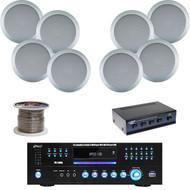 """Pyle USB DVD Receiver, 5.25""""Ceiling/Wall Speakers, Speaker Selector,Speaker Wire"""
