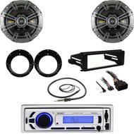 "Bluetooth USB Stereo, Harley FLHX Dash Install Kit, Antenna, 6.75"" Speaker Set"